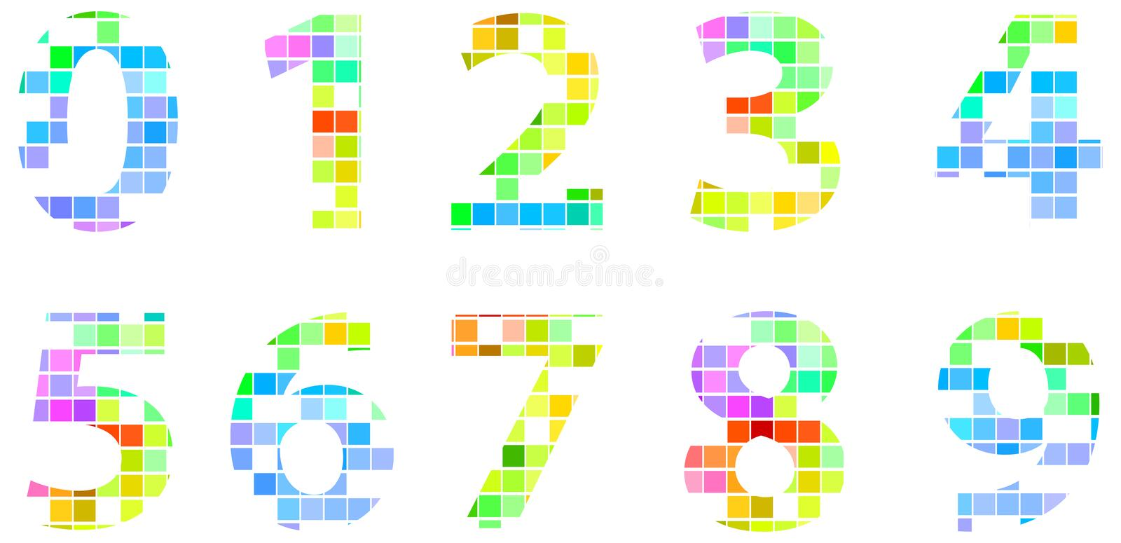 Colorful Modern Square Mosaic Numbers stock photography