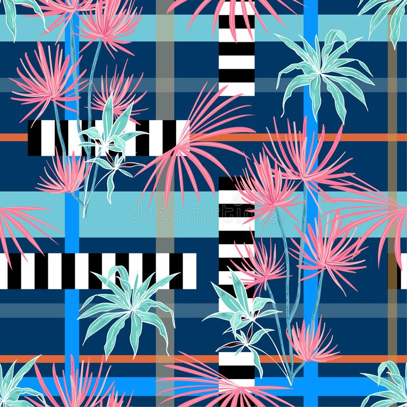 Colorful modern tropical plam trees and leaves mixed with geometric stripe modern line seamless pattern on vector design for. Fashion,fabric,wallpaper, and all stock illustration