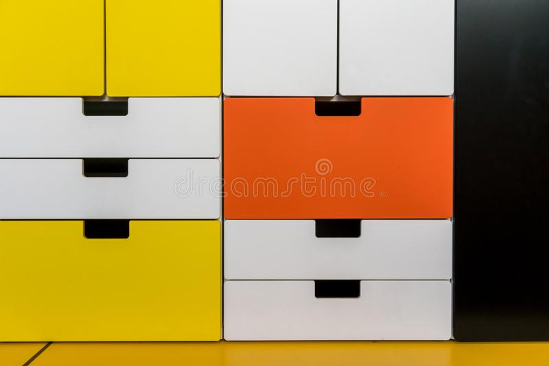 Colorful modern wooden cabinet, drawer or storage. For decoration royalty free stock photos