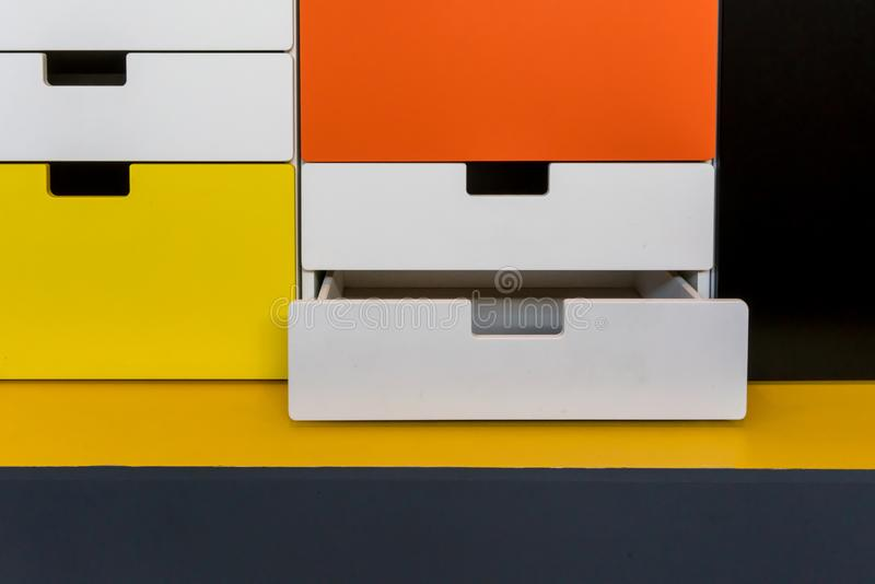 Colorful modern wooden cabinet, drawer or storage. For decoration stock photos
