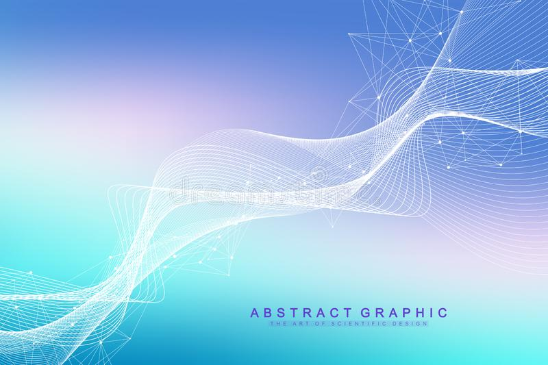 Colorful molecules background. DNA helix, DNA strand, DNA Test. Molecule or atom, neurons. Abstract structure for stock illustration