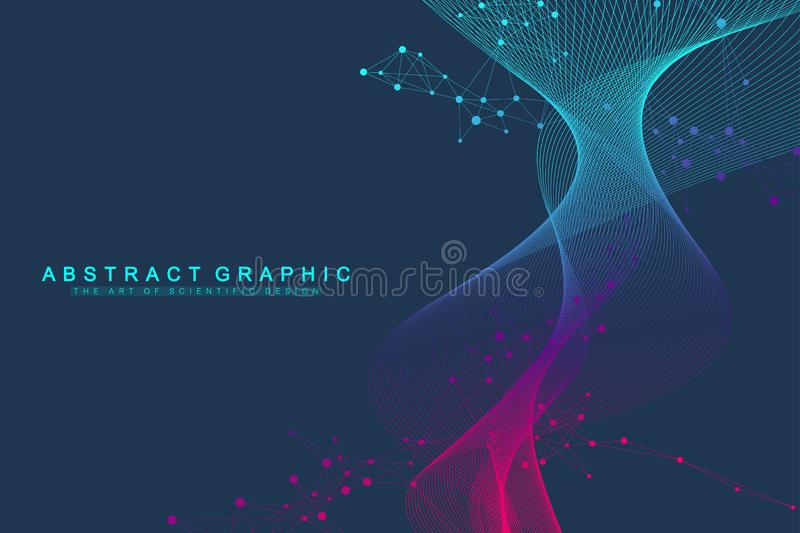 Colorful molecules background. DNA helix, DNA strand, DNA Test. Molecule or atom, neurons. Abstract structure for vector illustration