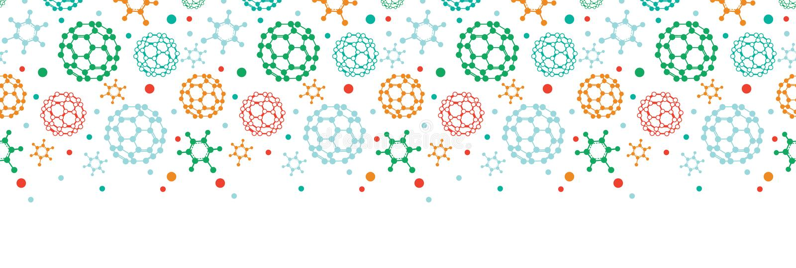 Colorful Molecules Horizontal Seamless Pattern Royalty Free Stock Photography