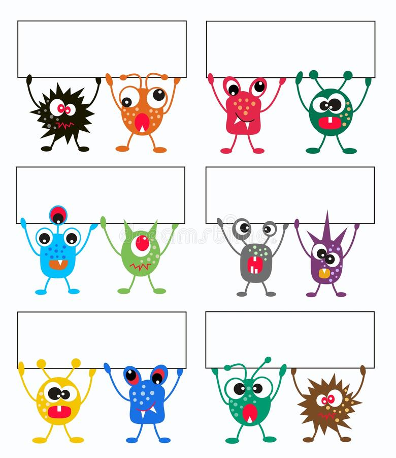 Download Colorful Monsters With Placards Royalty Free Stock Image - Image: 18738046
