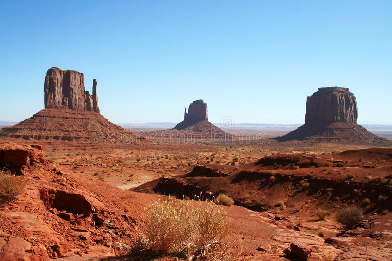 Colorful Monument Valley with blue sky