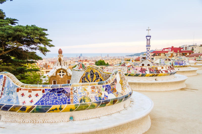 Colorful mosaic bench of park Guell, designed by Gaudi, in Barcelona, Spain stock photos