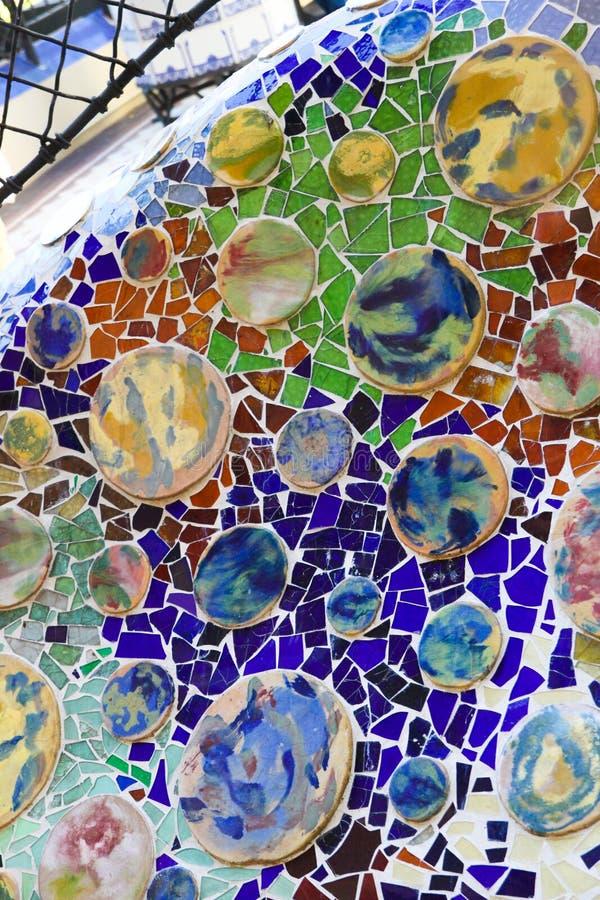 Colorful mosaic in casa Batllo, by Antoni Gaudi royalty free stock photos
