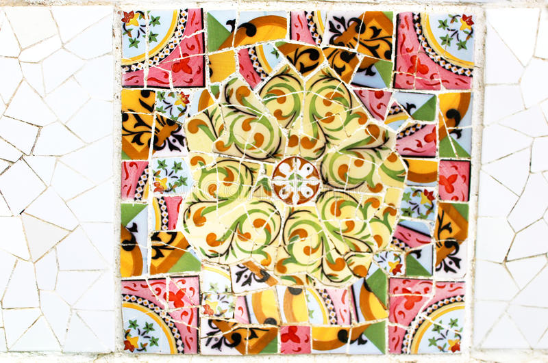 Colorful mosaic in famous Parc Guell in Barcelona, Spain stock image