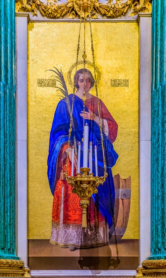 Colorful mosaic icon of Saint Catherine in the Saint Isaac's Russian Orthodox Cathedral in Saint Petersburg, Russia stock photo