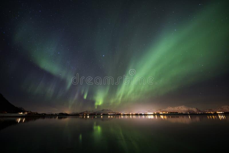 Northern Lights Lofoten, Norway royalty free stock photography
