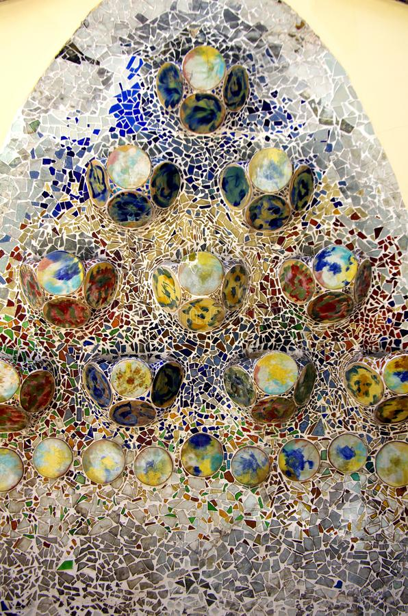 Characteristic wall of Batllo, Spain. Colorful mosaic tiles at Casa Batllo on Passeig de Gracia, Barcelona Spain stock image