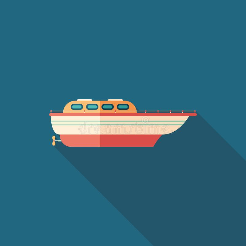 Colorful motor boat flat square icon with long shadows. royalty free illustration