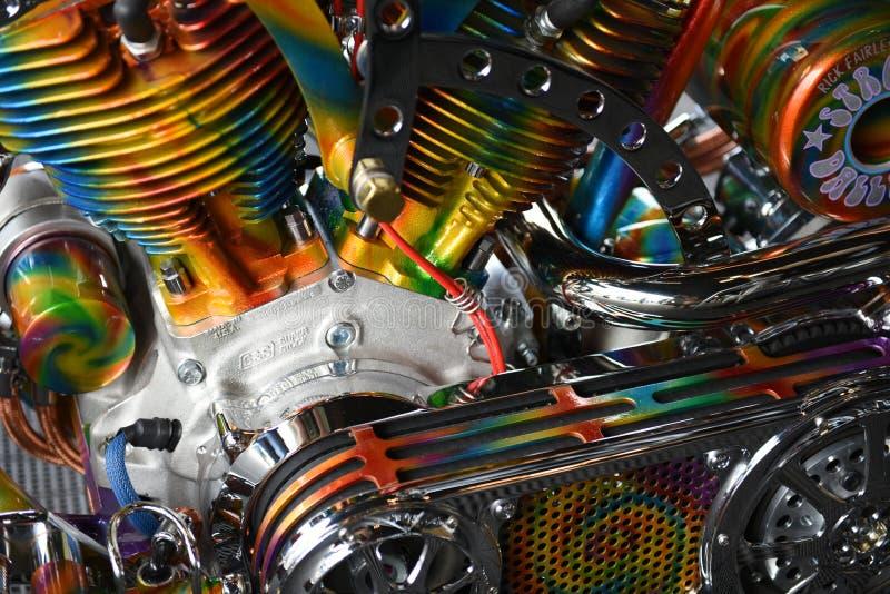 Colorful motorcycle engine, Sturgis, South Dakota, August 2017 stock photos