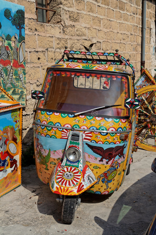 colorful motorcycle palermo 免版税库存照片