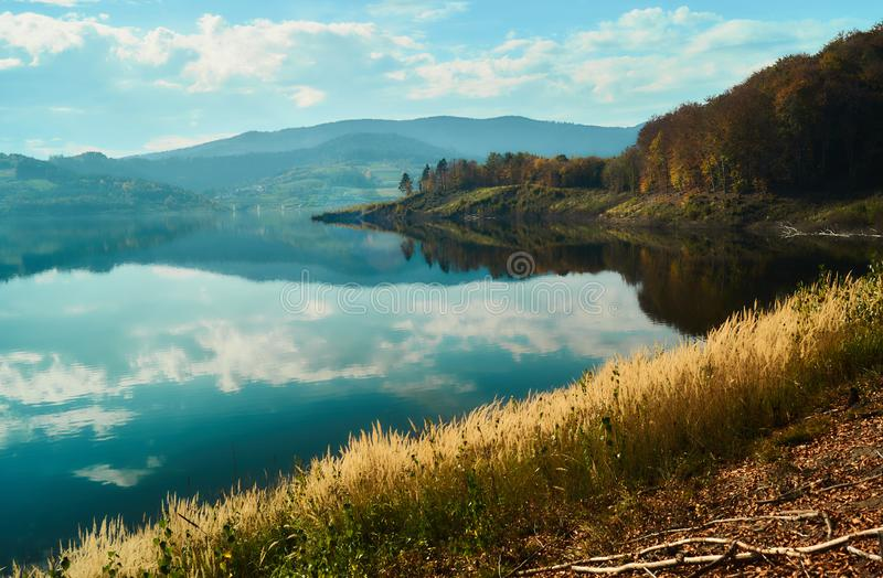 Colorful mountain lake in autumn. stock photography