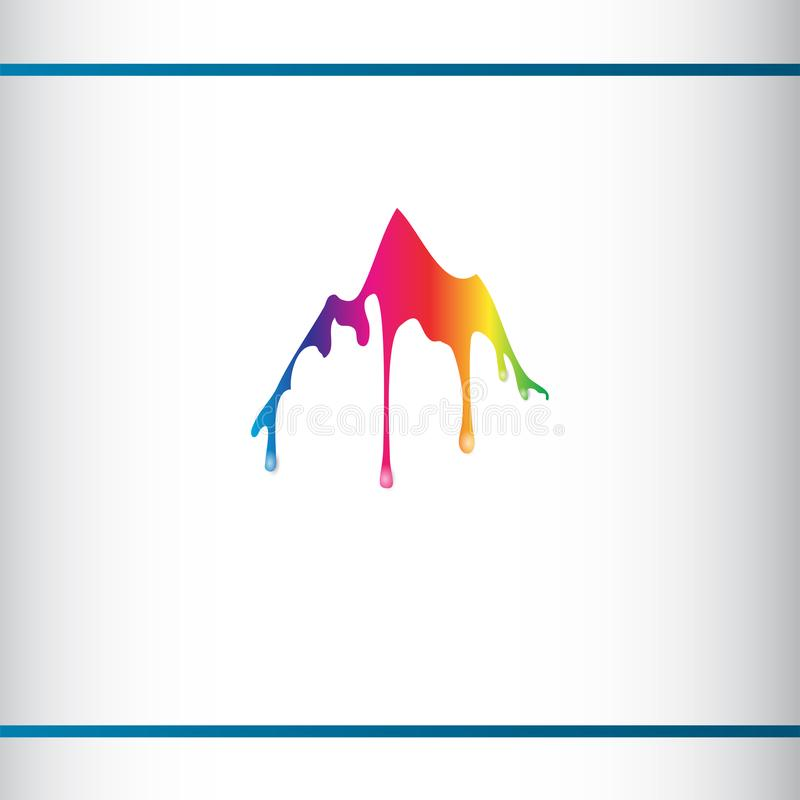 Colorful mountain silhouette with flowing drops. Color hills. Creative Logo design templete. 3D effect stock illustration