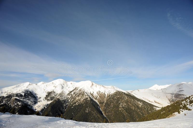 Colorful mountain landscape - mountains covered with snow, Vallnord, Principality of Andorra, Europe. stock images