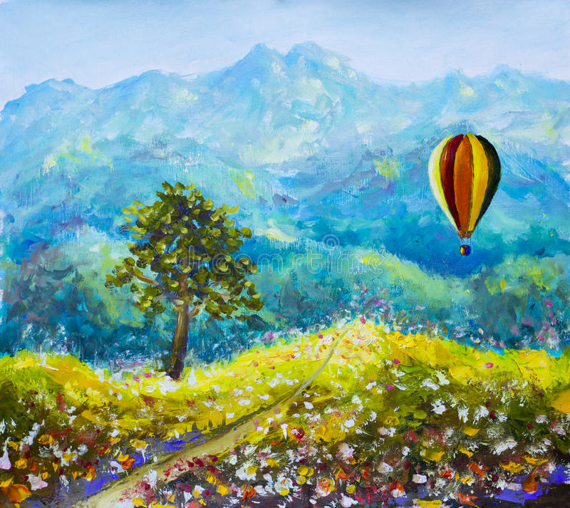 Colorful mountains Balloon oil painting stock illustration