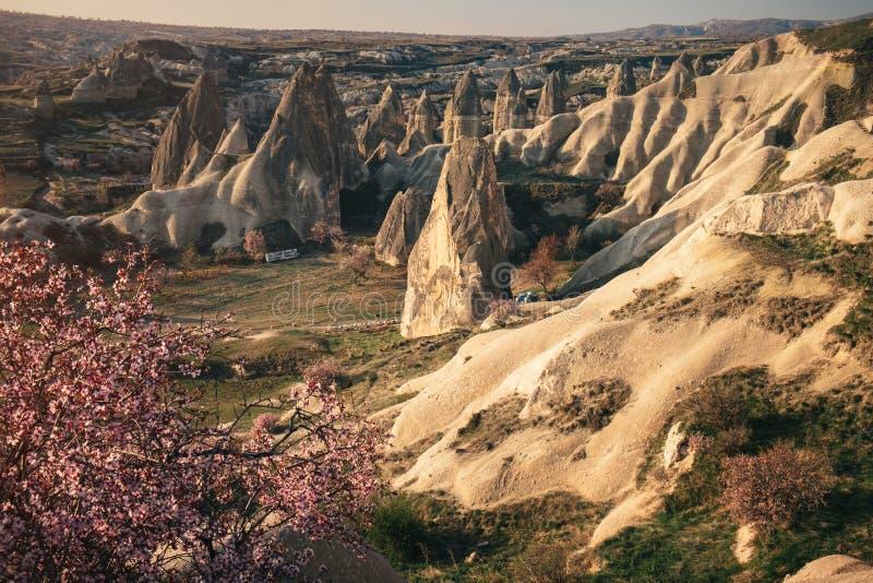 Colorful mountains landscape of Cappadocia at sunrise, Turkey stock photo