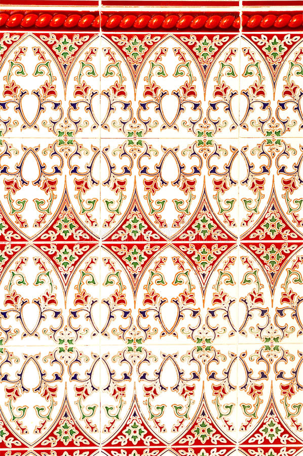 Colorful Mudejar Wall. This is a multicolor mudejar wall in Granada, Spain stock image