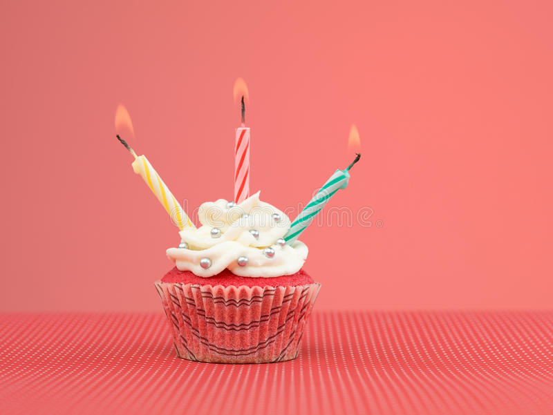 Colorful Muffin Candles Stock Photos
