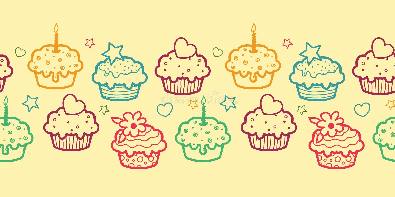 Colorful muffins horizontal seamless pattern royalty free illustration