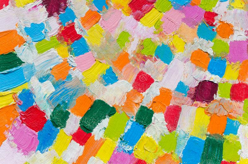 Colorful multi-colored square brush strokes in oil. Top view texture for a banner background.  stock photography