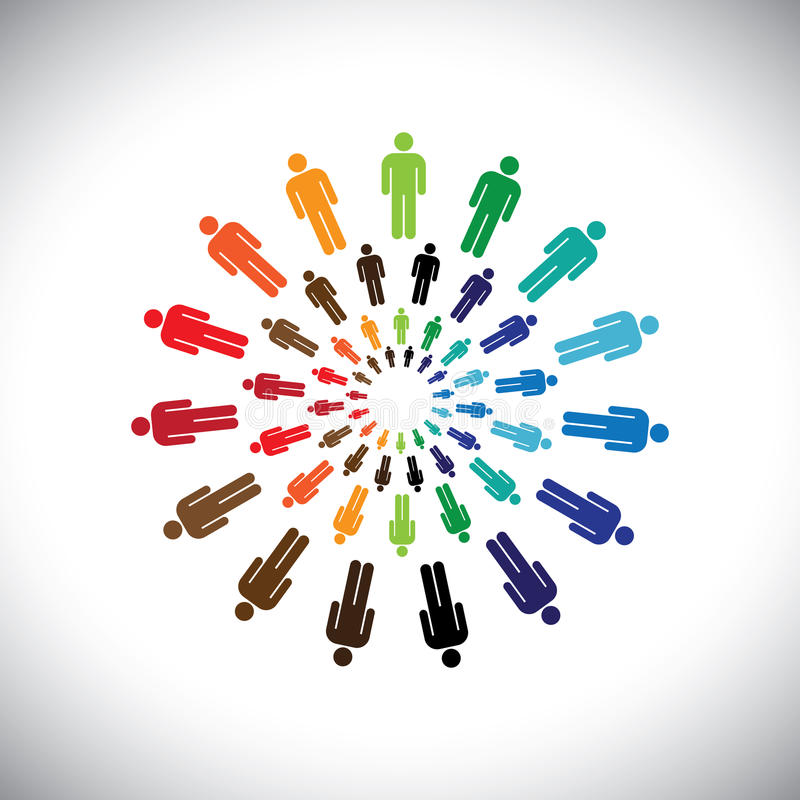 Colorful multi-ethnic people teams or communities meet as circle stock illustration