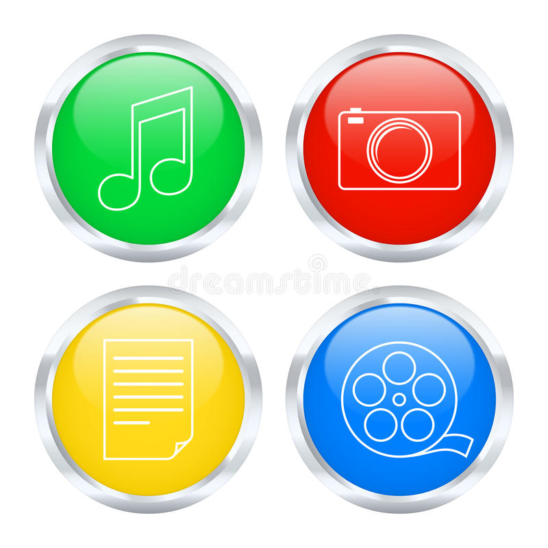 Colorful multimedia buttons stock illustration