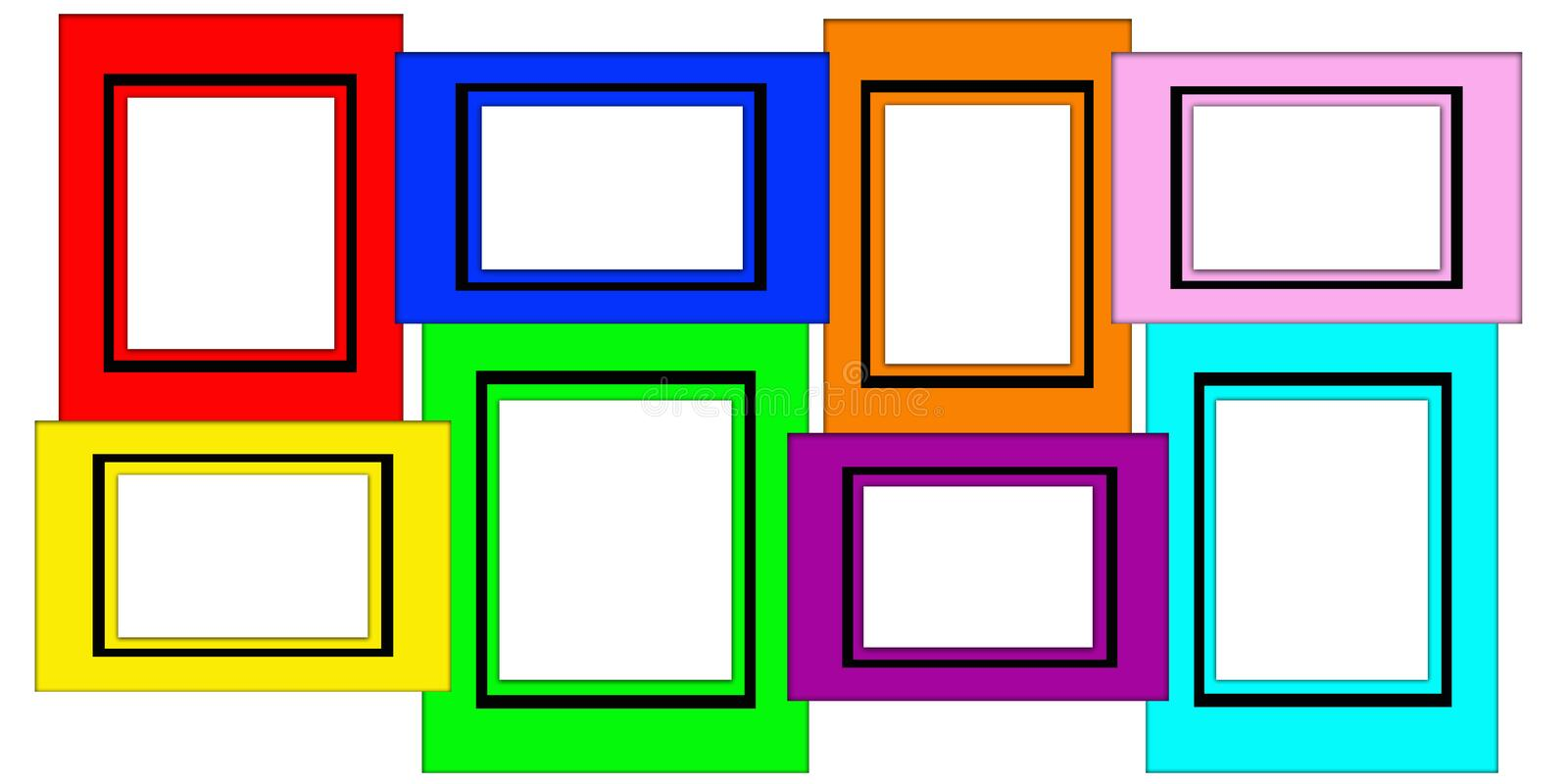 Colorful Multiple Blank Picture Frame Set Stock Photo - Illustration ...