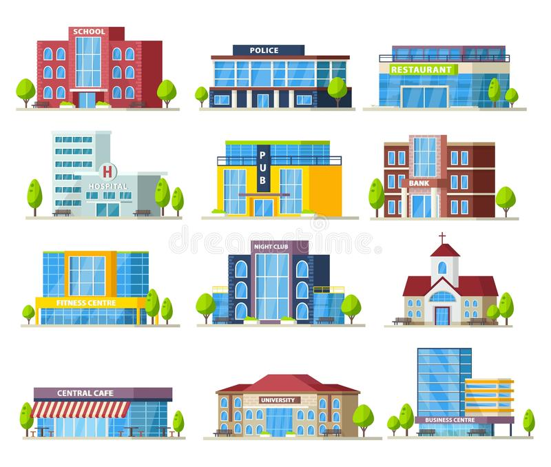Colorful Municipal Buildings Collection stock illustration