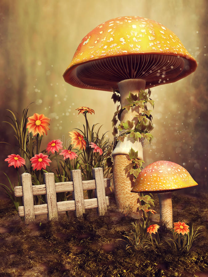 Colorful mushrooms and flowers stock illustration