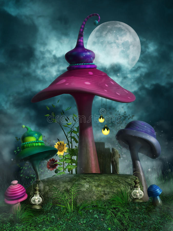Colorful mushrooms at night vector illustration