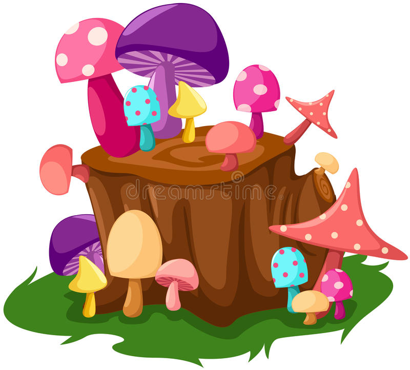 Free Colorful Mushrooms With Tree Stump Royalty Free Stock Photography - 23067697
