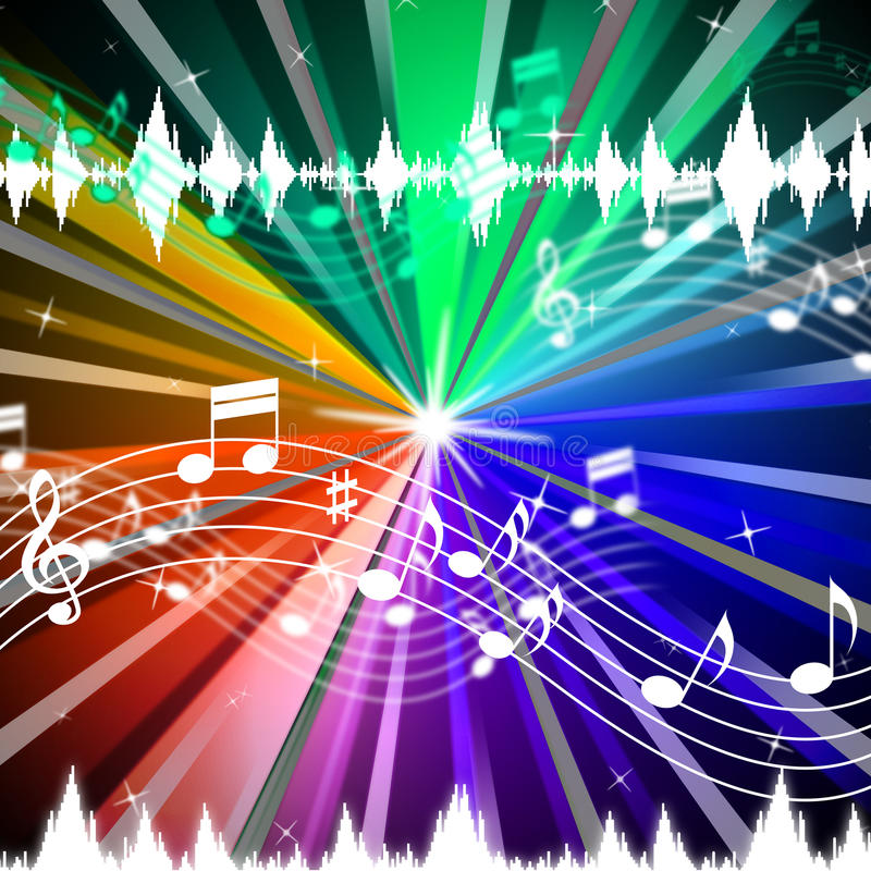 Download Colorful Music Background Means Brightness Beams And Singing Stock Illustration - Image: 42080628
