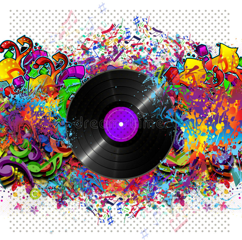 Colorful music background with vinyl royalty free illustration