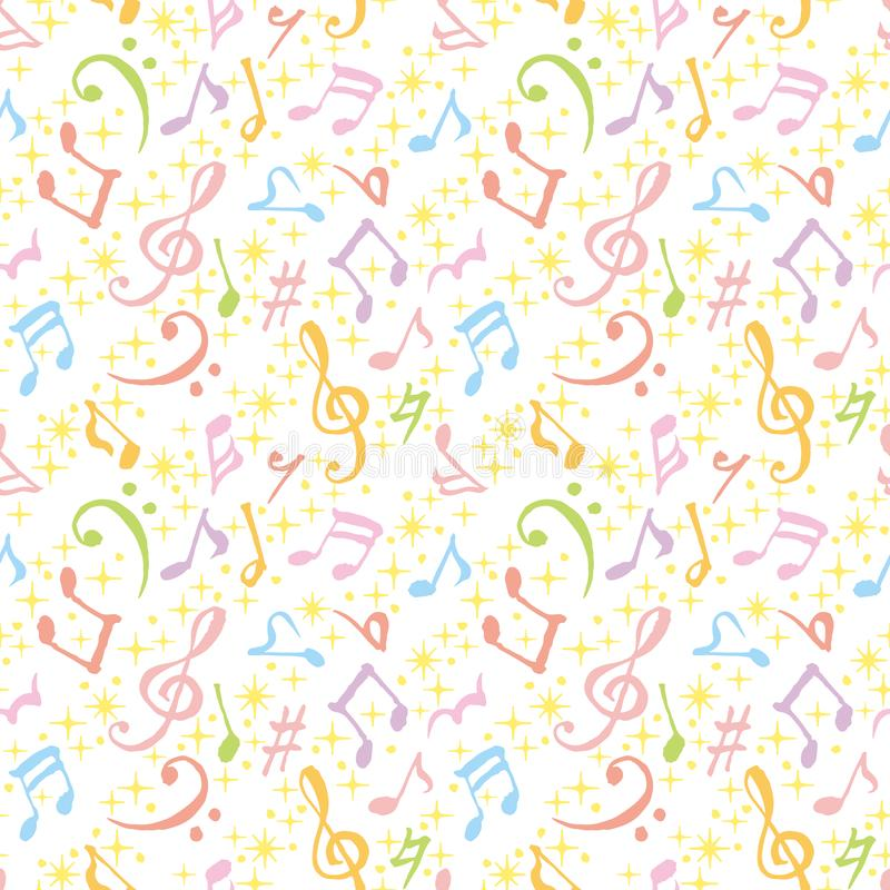 Colorful music notes background. hand drawn illustration. royalty free illustration
