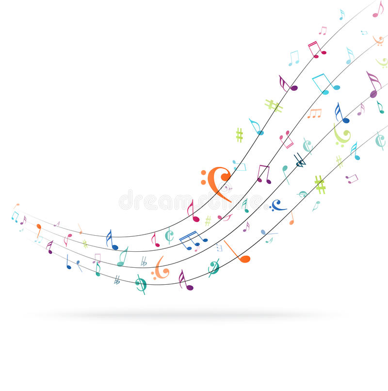 Colorful music Notes Background. Illustration of Colorful music Notes Background royalty free illustration