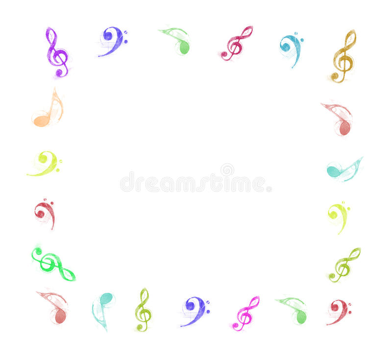 Colorful Music Notes Frame Stock Images