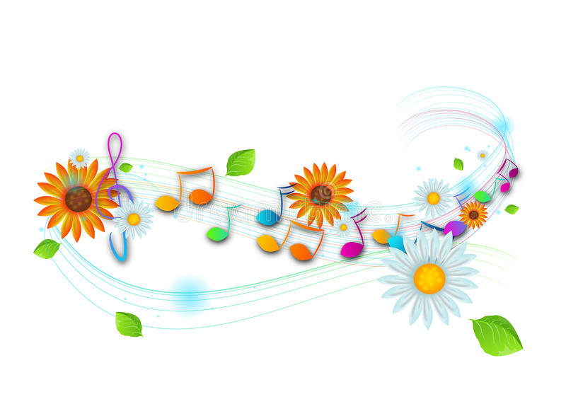 Colorful music notes stock illustration. Illustration of ...