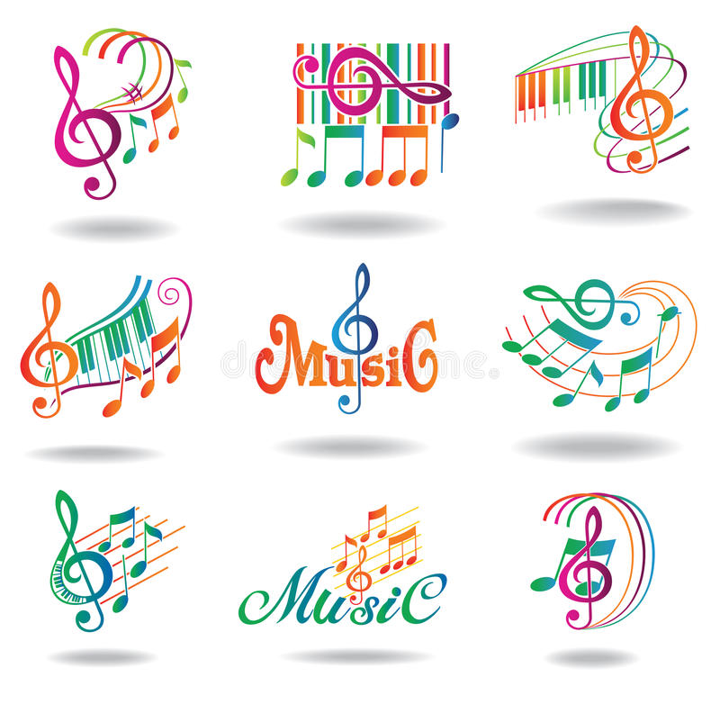 Colorful music notes. Set of music design elements royalty free illustration