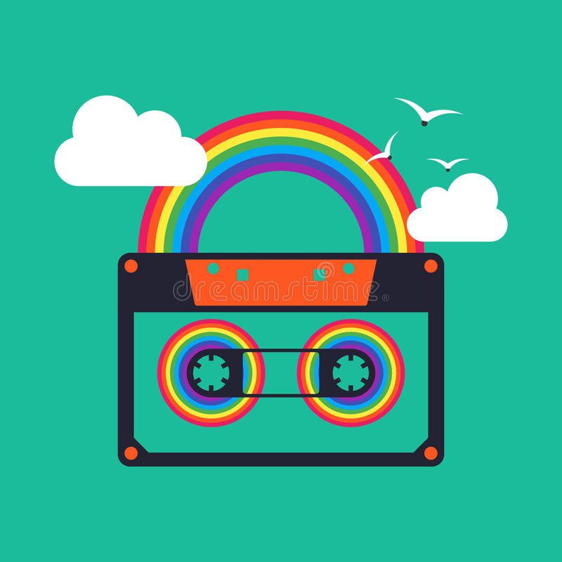 Colorful music rainbow tape cassette abstract background vector illustration