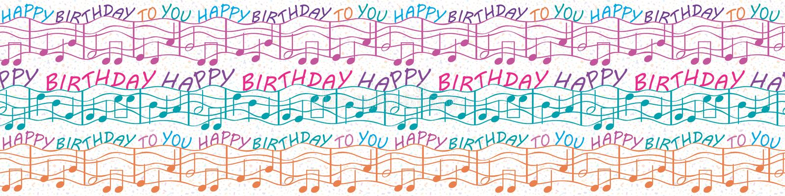Colorful musical birthday congratulations border with text and musical notes. Seamless vector pattern in purple, blue vector illustration