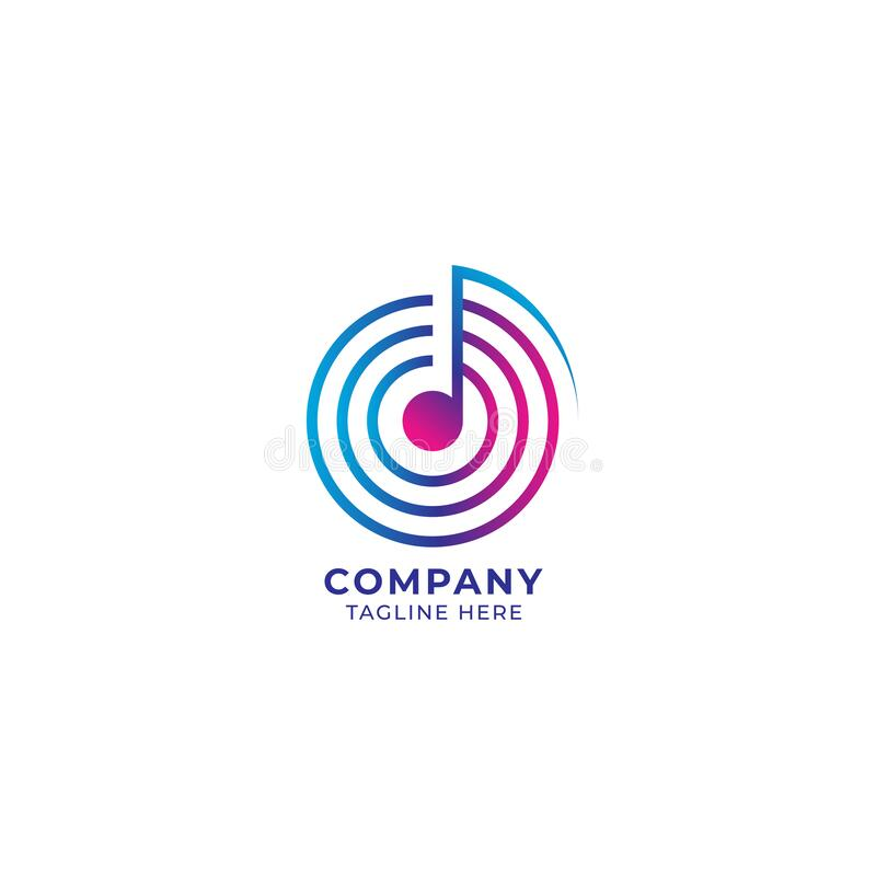 Free Colorful Musical Note With Concentric Circles Vector Illustration. Music And Energy Logo Design Template Isolated On White Color Stock Image - 216437571