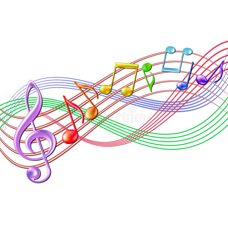 Free Colorful Musical Notes Staff Background On White. Stock Photos - 31293933