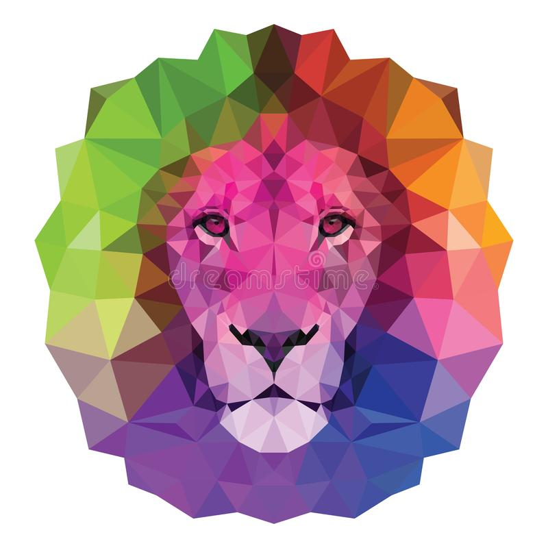 The colorful muzzle lion vector illustration with high-detailed eyes, consisting of triangles. Low poly design vector illustration