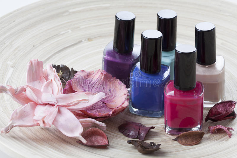 Colorful nail lacquer royalty free stock photography
