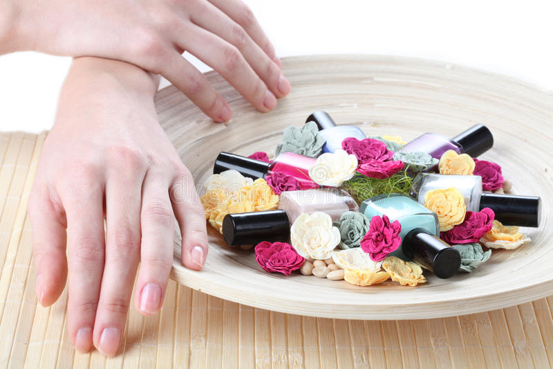 Colorful nail lacquers stock image
