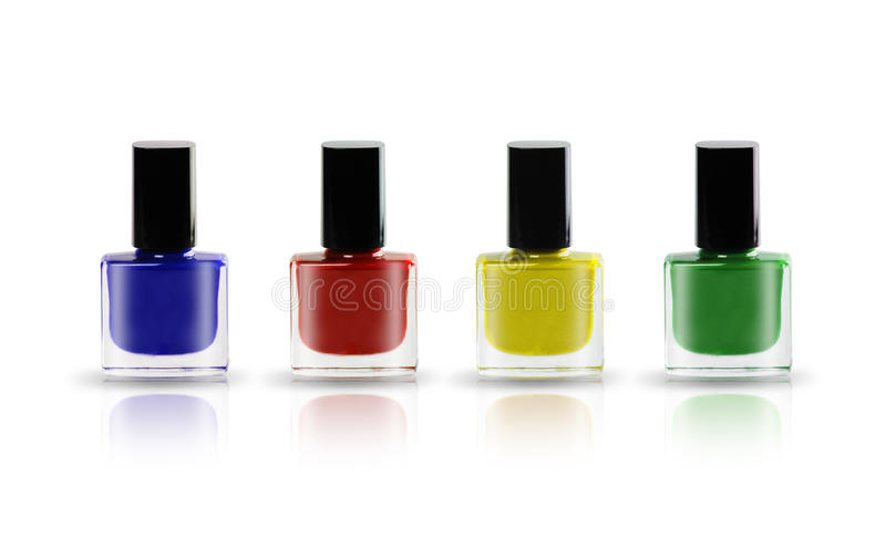 Colorful nail polish bottles royalty free stock photo