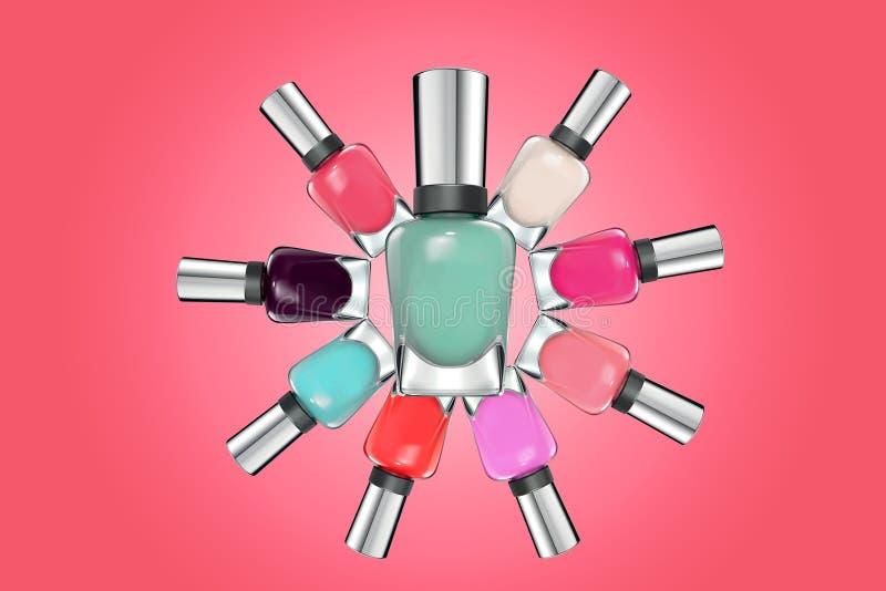 Colorful nail polish on pink background stock image